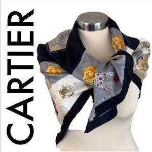 👑CARTIER  LARGE SILK SCARF 💯AUTHENTIC
